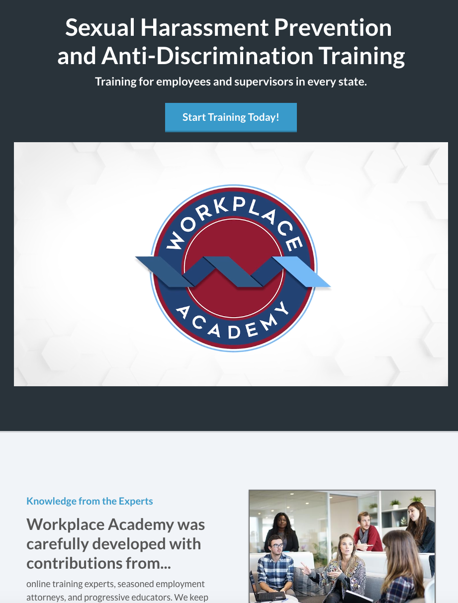 Workplace Academy Website, Syntax Production Vermont